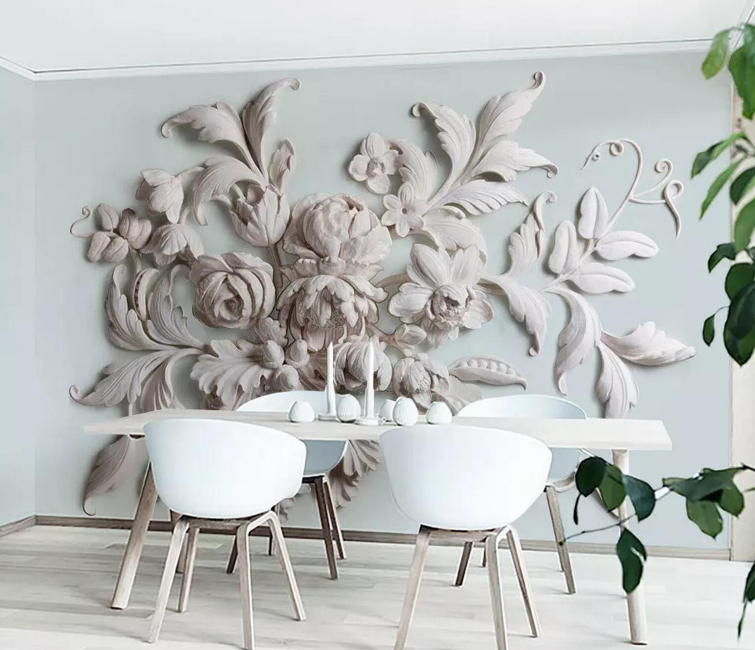 3D Emboss  Flower 76 Wall Paper Exclusive MXY Wallpaper Mural Decal Indoor Wall