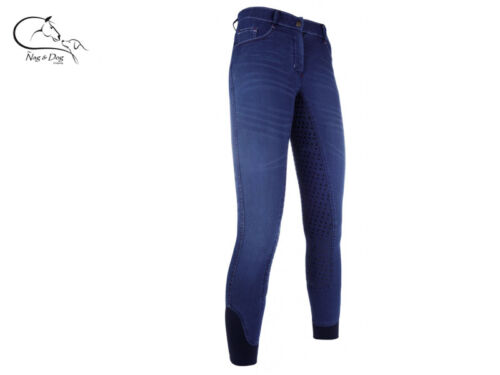 HKM Ladies SUMMER COOL Sports Denim Breathable Breeches SILICONE FULL GRIP Seat