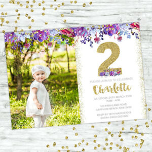Image Is Loading 2ND BIRTHDAY INVITATIONS SECOND BOHO GIRL PARTY