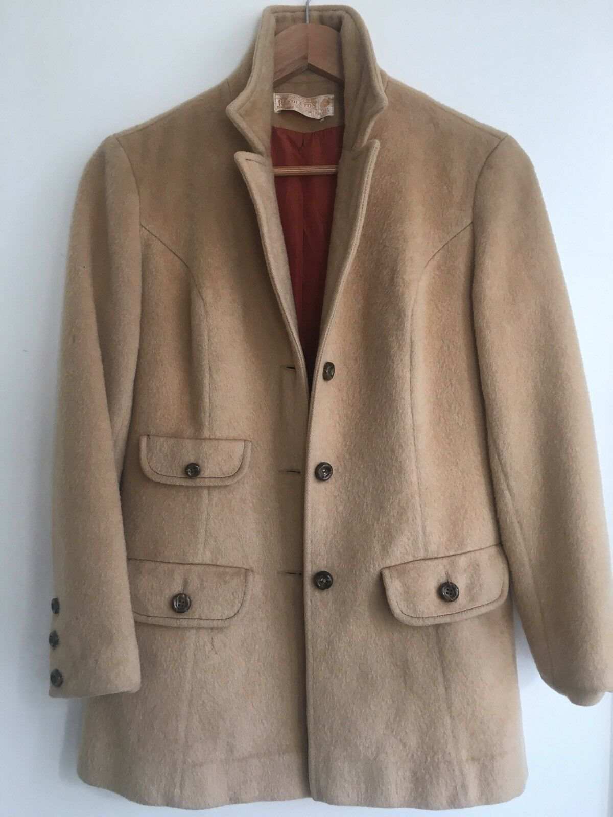 Amazing Vintage Pendleton Womens Beige 100% Pure Virgin Wool Button up Warm Coat