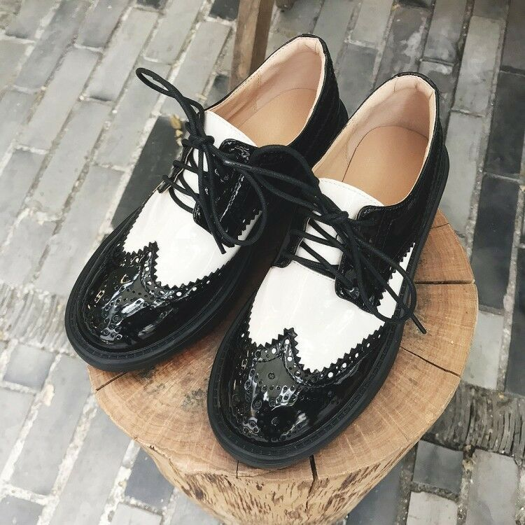 Casual Women's Oxfords Lace up Slip On Brogue Carved Wingtip shoes Plus Size New