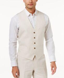 INC-Mens-Vest-Suit-Beige-Size-3XL-Linen-Nevin-Button-Front-Three-Pocket-59-274