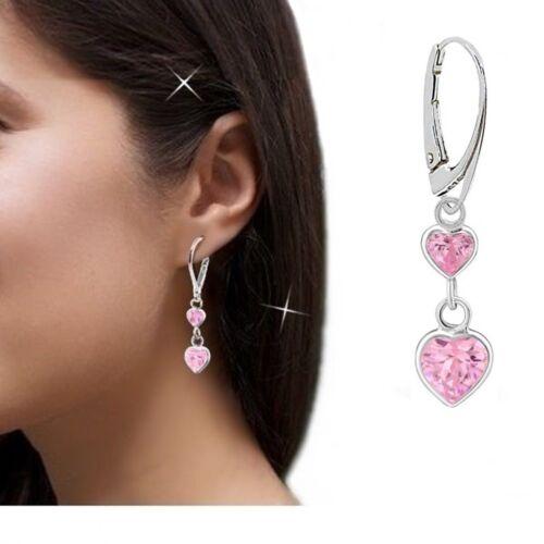 Rosa Herz Brisur Mädchen Ohrringe Ohrhänger 925 Echt Silber Damen 18 x 7 5348