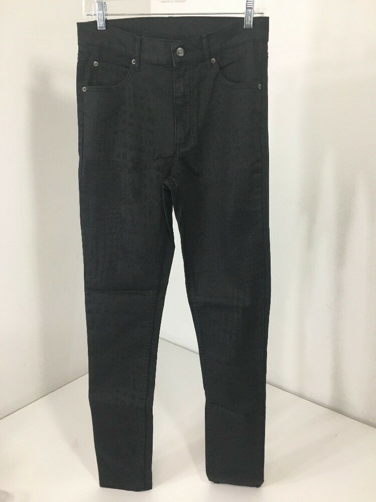 CHEAP MONDAY WOMEN'S 2ND SKIN  CUT UP CROC HIGH WAIST SKINNY JEANS BLK 30X32 NWT