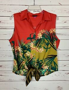 Vince Camuto Women's M Medium Coral Floral Tropical Sleeveless Button Top Blouse