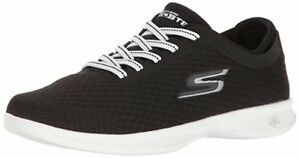 SKECHERS WOMENS GO STEP-DASHING WIDE FIT WALKING/FITNESS SHOES 14500/BKW