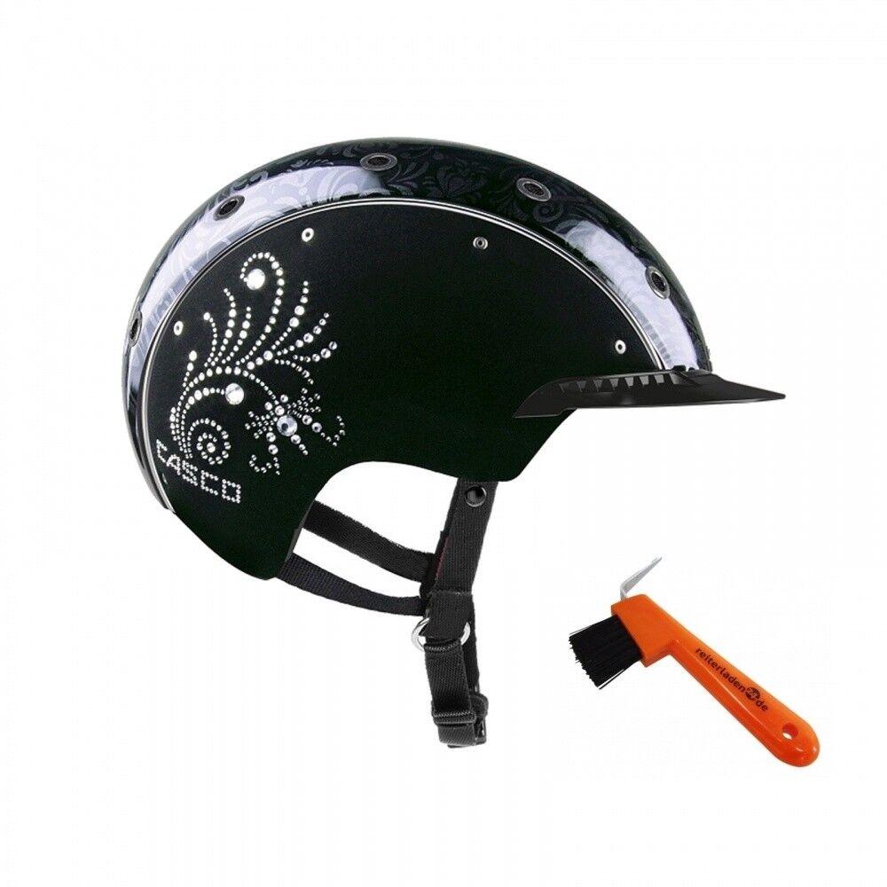Reithelm Spirit - 3 Crystal floral casco negro + hufkratzer jinete cargar 24  nuevo