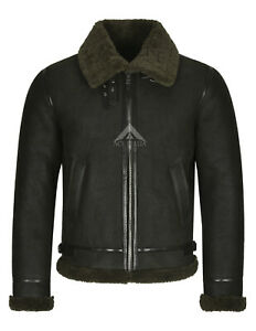 Mens REAL SHEEPSKIN Flying Leather Jacket Olive B3 Bomber