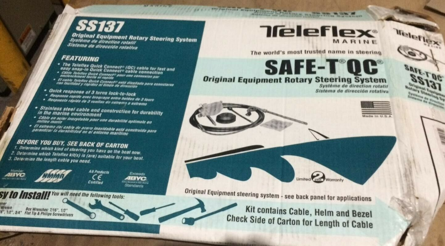 16 Ft Seastar Teleflex Safe-T Quick Connect Rotary Steering System for Boats