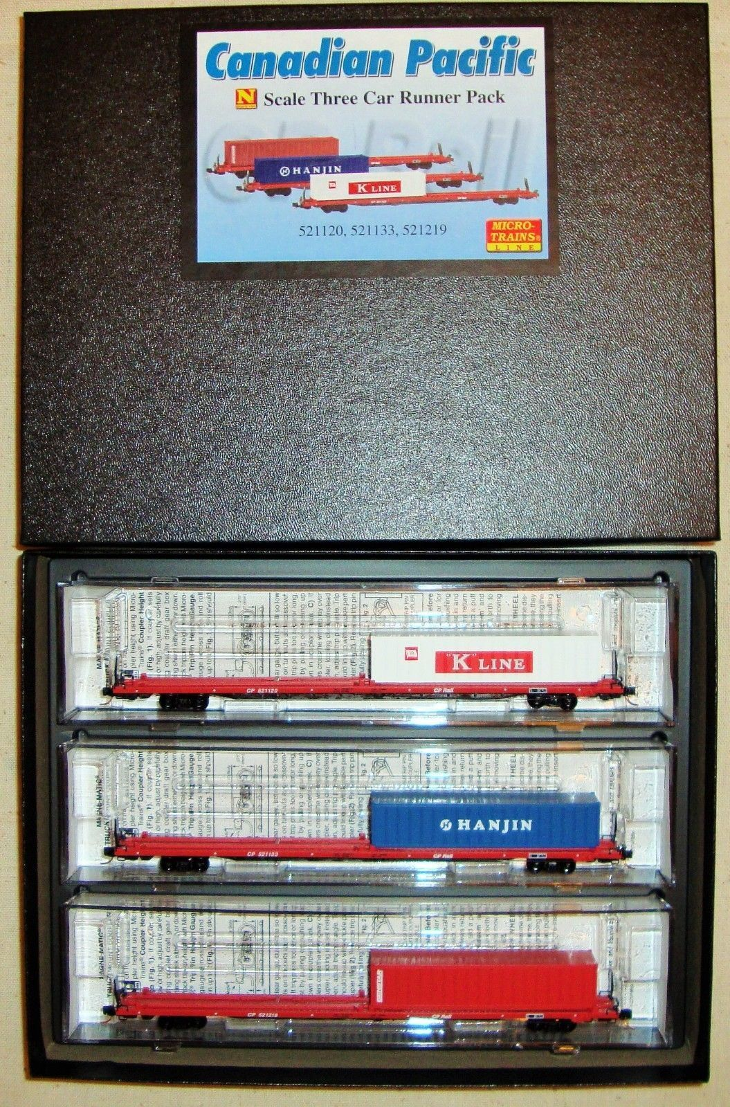 JTC - Runner 3-Pk  COFC Flat Cars w  Container  (Canadian Pacific)