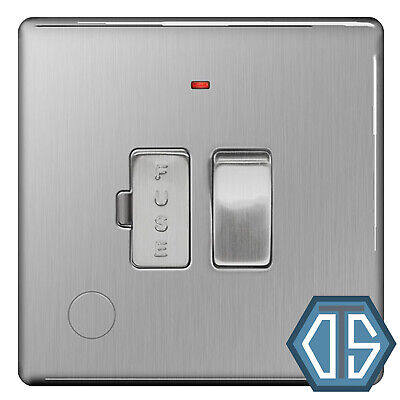 Screwless Flat Plate Brushed Steel Single Switched Socket 1G BG Nexus FBS21G