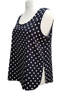 Ladies-Plus-Size-Camisole-Top-Vest-Navy-amp-White-Spotted-Sizes-18-20-to-34-36-New