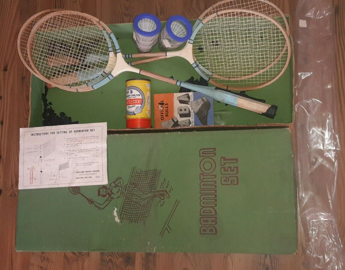 Set Badminton 4 Vintage Cortland Badminton Set Set in Box w/ Racquets, instructions + more 2c0935