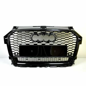 FRONT-GRILL-Look-RS1-BLACK-FOR-AUDI-A1-8X-2015-19-Wabengrill-Grille-Stossstange