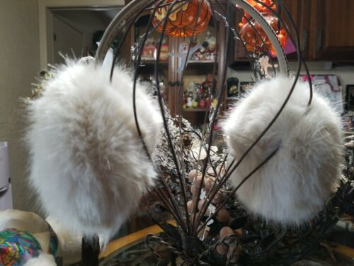 EAR MUFFS MINK WITH SUEDE BAND CREAM COLOR