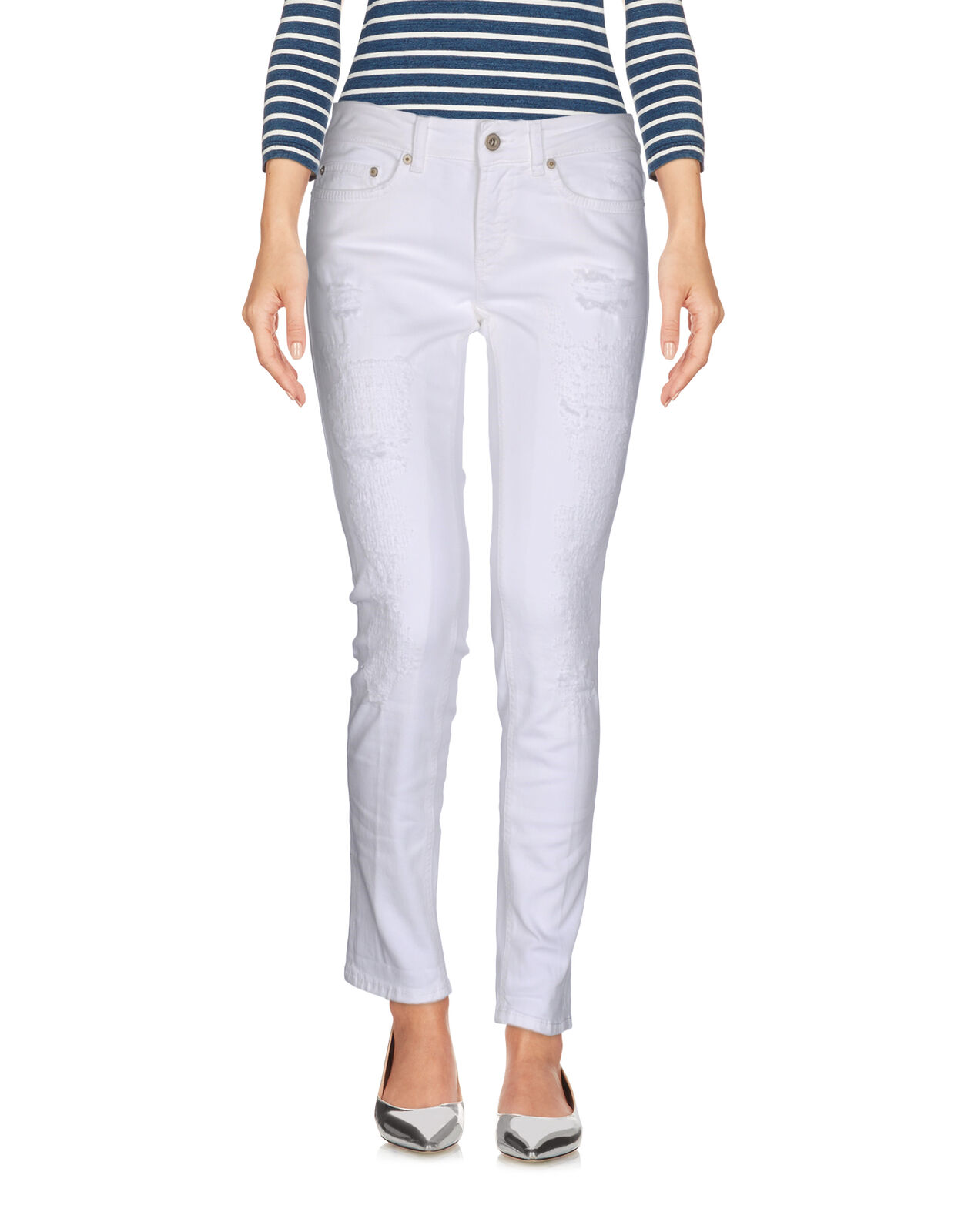 Dondup Womens Denim Slim Fit Trousers Jeans White 25(XS)