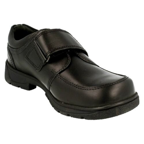 Startrite Accelerate Boys Kids Black Riptape Touch Close Leather School Shoes