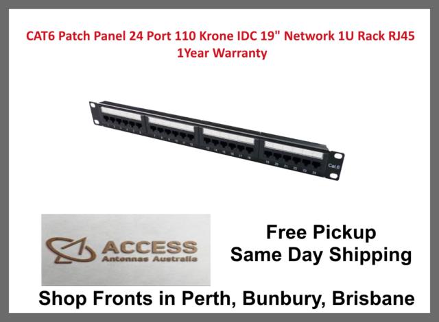 "24 Port Keystone Jack Blank Patch Panel Plate 19/"" 1U 24 Ports Cat5e RJ45 Black"