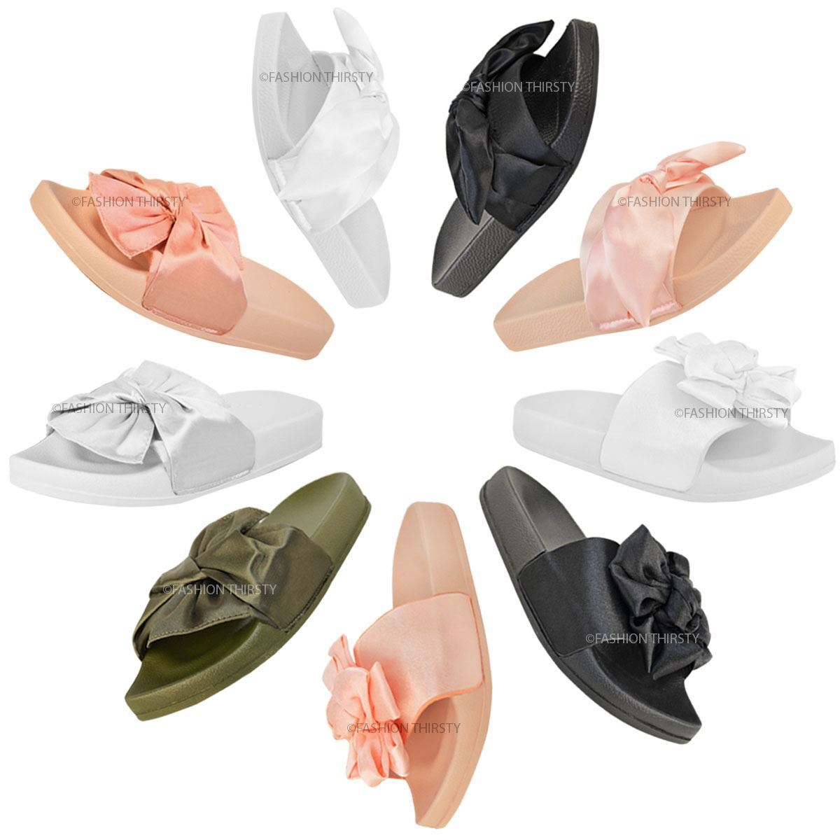 Womens Ladies Comfy Bow Knot Sliders Flats Satin Casual Slippers Shoes Shoes Slippers New Size eb6c7f