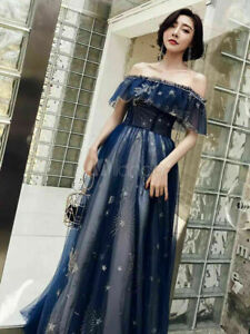 Prom Dresses NavyLong Off Shoulder Tulle Lace Maxi Formal Party Dress New Size 6