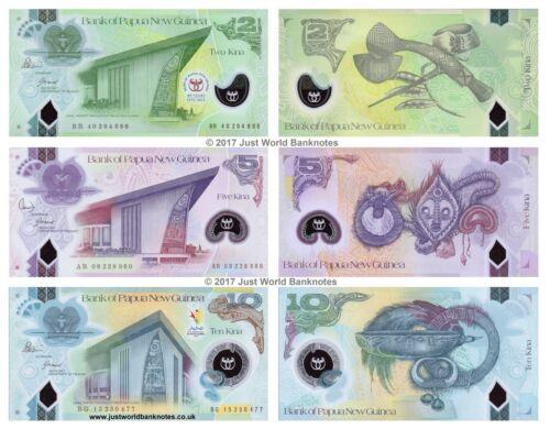 Papua New Guinea 2 5 10 Kina 2007-2016 Polymer Set of 3 Banknotes 3 PCS UNC