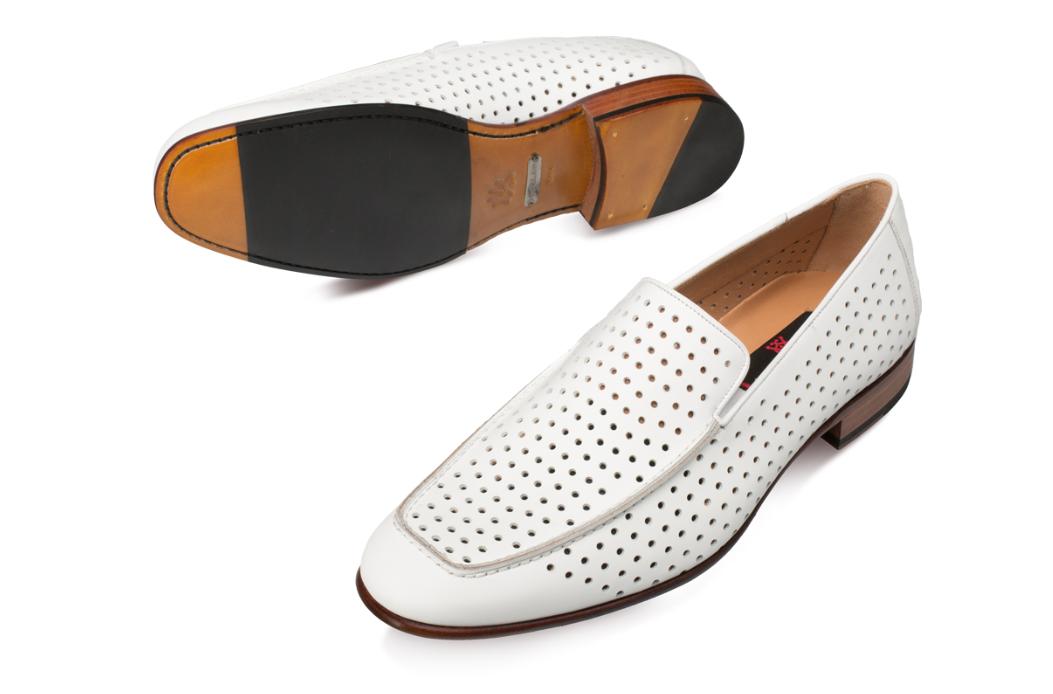 Mezlan Men's Astori Slip On White Leather Loafers 8889