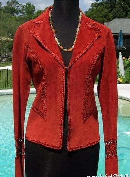 Cache Suede Leather Peek-A-Boo Crochet Insert Jacket Top New XS S Rust  NWT