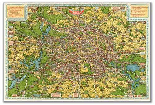 Birds Eye View Map of Old BERLIN GERMANY circa 1931 Vintage Style Print 24x36