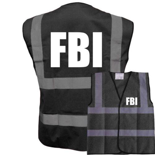 FBI FUNNY BLACK VEST HI VIZ VIS WAISTCOAT VEST FANCY DRESS STAG PARTY BOSS
