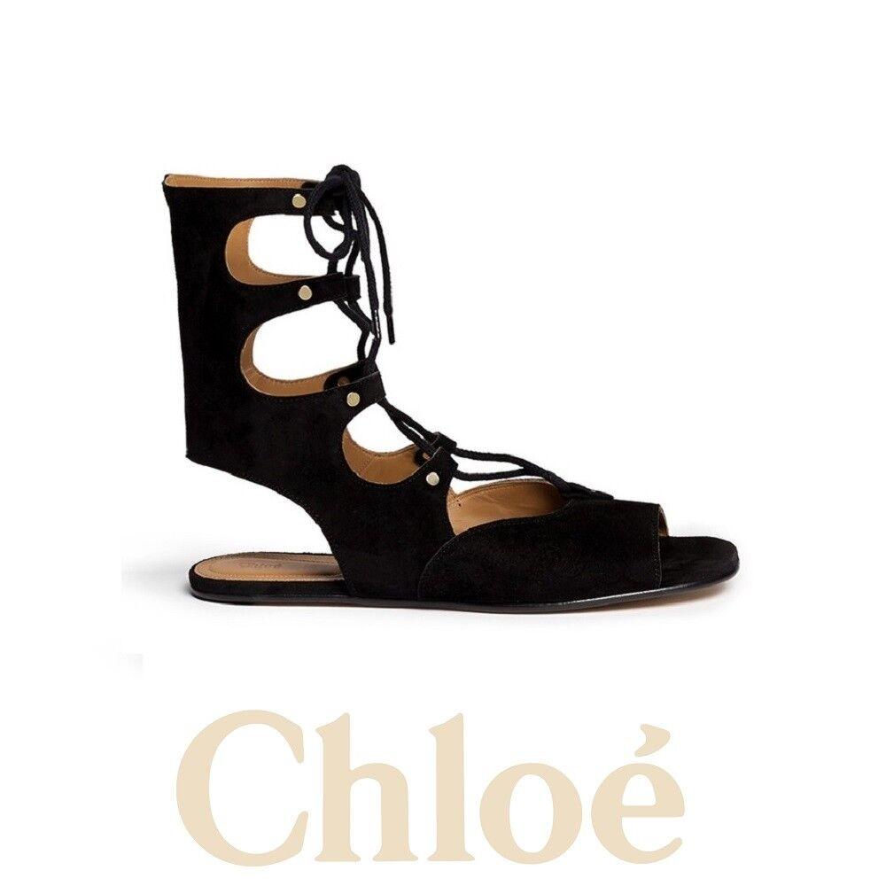 Chloe Lettonia Con Con Con Cordones Gamuza Gladiador Sandalias Planas Negro Talla 39-Nuevo En Caja  995  comprar ahora