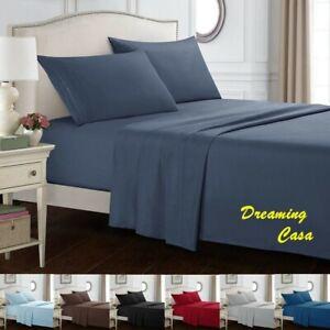 Hotel Luxury Pillowcase 1800 Count 4 Pcs Deep Pocket Bed Sheet Set Sheets R1