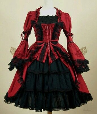Ladies Black/Red Gothic Punk Princess Lace Layered Cosplay Lolita Dress Costume