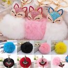 Soft Cute Rabbit Fur Ball PomPom Cell Phone Car Pendant Handbag Key Ring Chain