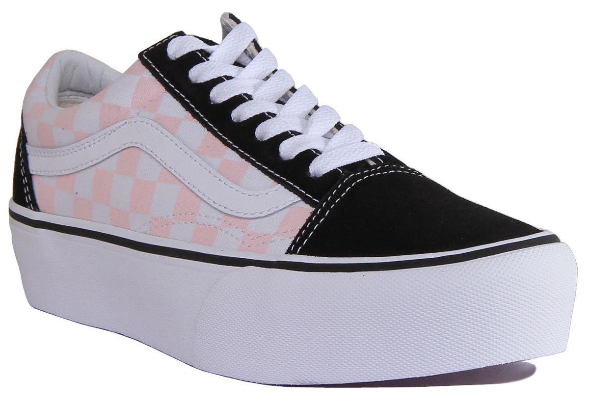 Vans Old Skool Platform Women Canvas Black White Pink Trainers Size UK 3 - 8