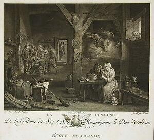 """David Ii Teniers """" La Fumeuse"""" Gravure Charles Emmanuel Patas Ed Couché 1786 Diversifié Dans L'Emballage"""