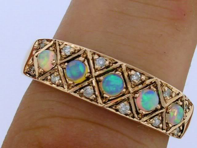 R275 Genuine 9K pink gold SOLID Natural OPAL Diamond Eternity 5stone Ring size P