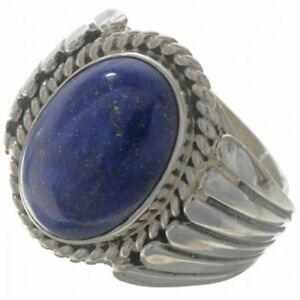 Handmade-Sterling-Silver-amp-Lapis-Men-039-s-Ring-Navajo-Big-Boy-Size-9-to-13
