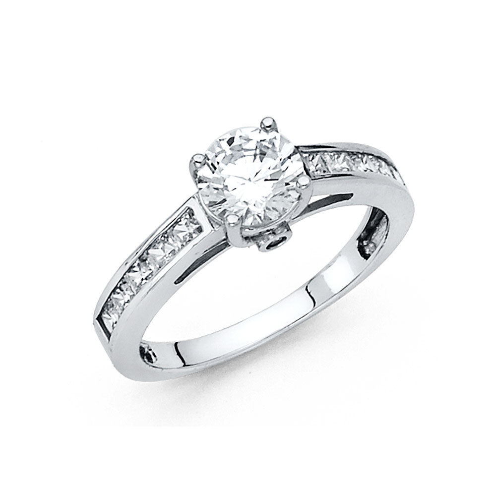 1.75 CT Diamond Engagement Ring 14k Solid White gold Channel Set