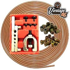 COPPER BRAKE PIPE LINE KIT + 20 NUTS ENDS 3/16 4.76MM & 7 PEICE FLARING TOOL KIT
