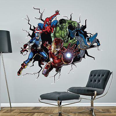 Superhero logos Superman Spiderman Batman Flash giant wall stickers kit decal