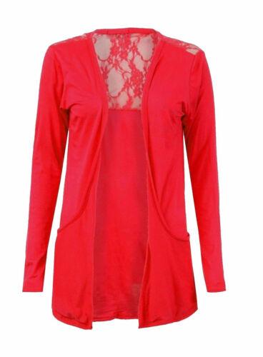 New Womens Half Lace Back Ladies Long Sleeve Boyfriend Cardigan Open Front Top