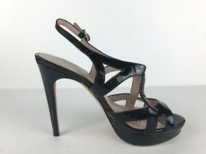 02fd9915493 Vince Camuto Black Patent Leather Strappy Pump Work Heels Peep Toe ...