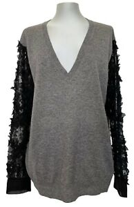 DRIES VAN NOTEN GRAY CASHMERE SWEATER WITH LACE SLEEVES, L, $1850