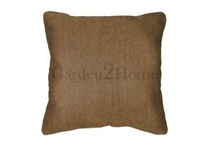 Throw Pillows Sunbrella Canvas Teak 5488 (Set/2) Solid Brown Square Acrylic eBay