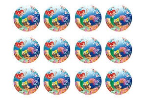 Little Mermaid Cupcake Toppers 12x2 Circles Edible Icing Party