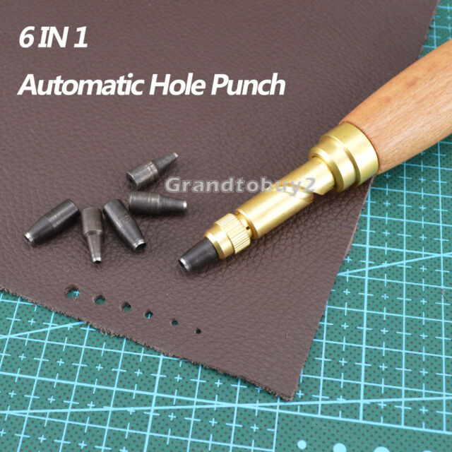 6 IN1 Automatic Hole Punch Tool Cutter for Sewing Leather Craft Paper PVC Banner