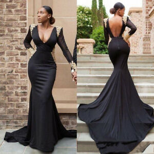 Gold Lace Appliques Black Mermaid African Prom Dresses