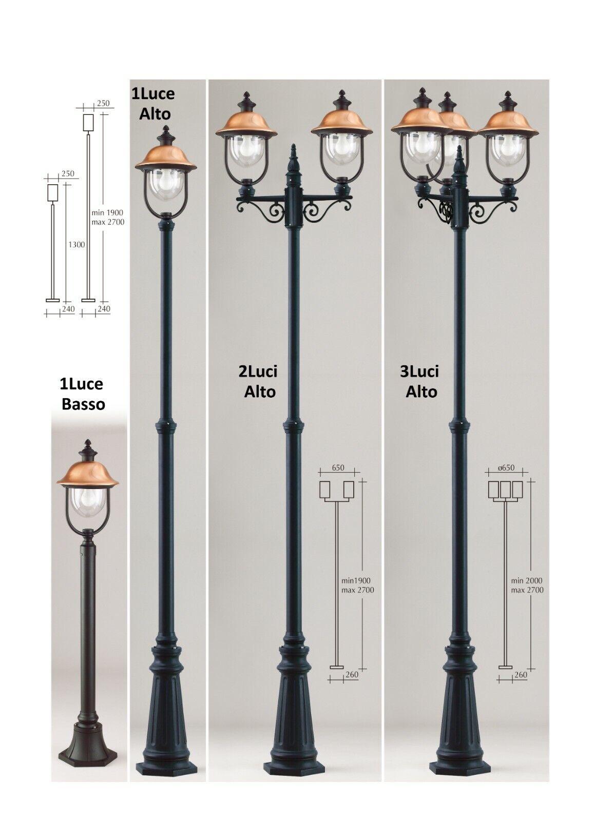 LAMPIONE DA GIARDINO PALO copertura in RAME, col.RE schwarz-Disponibile a 1 2 3LUCI