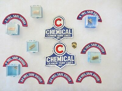 Vintage CHEMICAL LEAMAN Tank Lines  Trucking-Safe Driving Award Pins & Patches