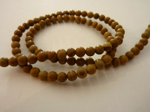 Strang jaspe 4 mm bala perla 40 cm de largo marrón 2035